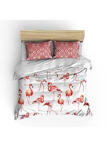Helen George Flamingo Çift Kişilik Nevresim Takımı Kırmızı
